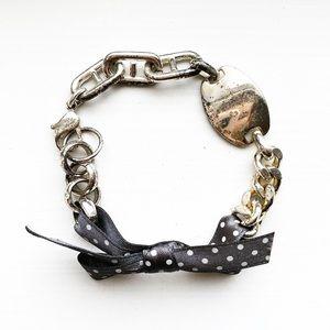Vintage silver & polka dot bow ribbon bracelet